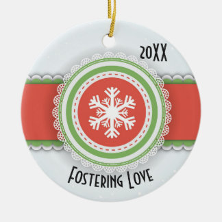 Pink & Green Merry Christmas Dated Photo Ceramic Ornament