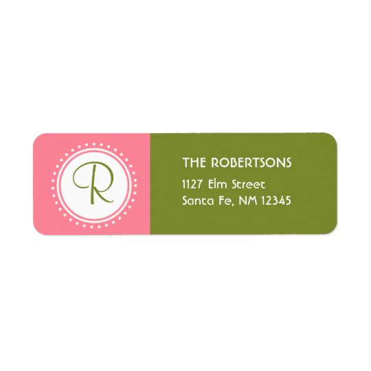 Pink & Green Monogram Address Label