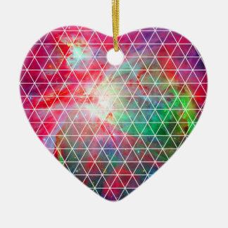 Pink Green Nebula Net Pattern Ceramic Heart Ornament