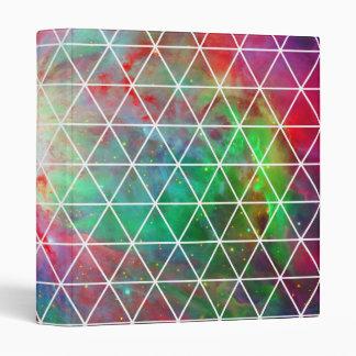 Pink Green Nebula Net Pattern Vinyl Binder