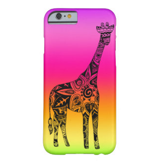 Pink & Green Neon Giraffe Barely There iPhone 6 Case