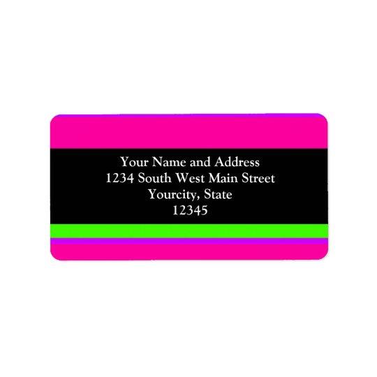 Pink/Green Neon Stripes Label