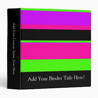 Pink/Green Neon Stripes Vinyl Binder