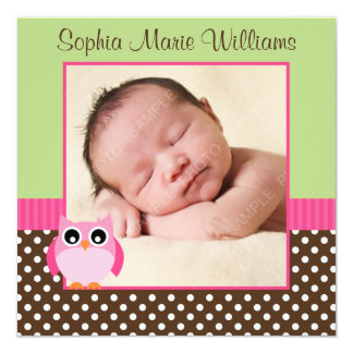 Pink Green Owl Photo Birth Announcement