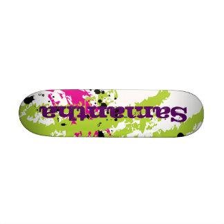 Pink Green Paint Splash Ink Mini Skateboard