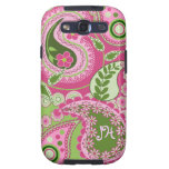 Pink & green Paisley case with Monogram Samsung Galaxy SIII Cover