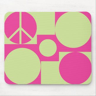 Pink & Green  Peace Dots Mouse Pad