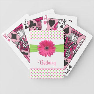 Pink Green Polka Dot Gerber Daisy Personalized Bicycle Playing Cards