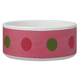 Pink Green Polka Dots Dog Pet Bowl