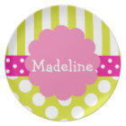 Pink & Green Polka Dots Stripes Personalized Plate
