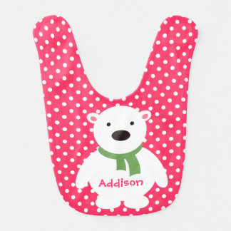 Pink/Green Polka Dots & Stripes, Polar Bear w name Bib
