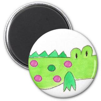 Pink & Green Preppy Alligator 2 Inch Round Magnet