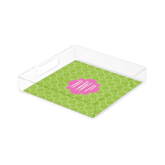 Pink + Green Quatrefoil Monogram Acrylic Tray