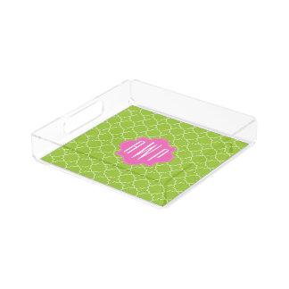 Pink + Green Quatrefoil Monogram Perfume Tray