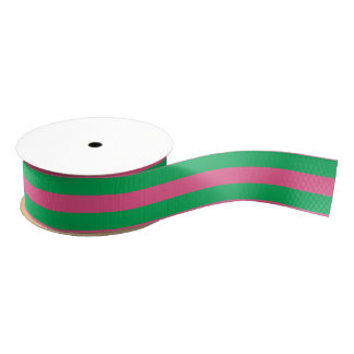 Pink & Green Striped | Any Length | Custom Grosgrain Ribbon
