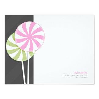 Pink & Green Swirl Lollipops Personalizable Card