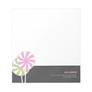 Pink & Green Swirl Lollipops Personalizable Notepads