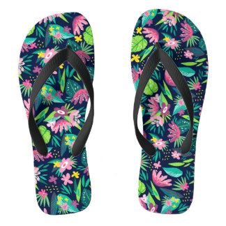 Pink & Green Tropical Flowers & Leafs Pattern Flip Flops