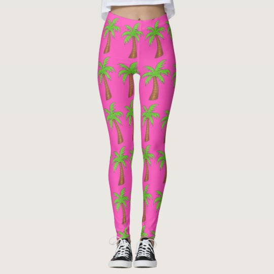 Pink Green Tropical Island Palm Tree Trees Legging