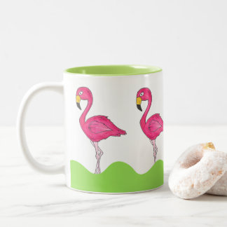 Pink Green Tropical Pink Flamingo Flamingos Mug