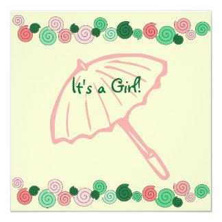 Pink & Green Umbrella Baby Shower Card