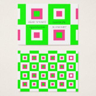 Pink & Green Vertigo Checkerboard Illusion Business Card