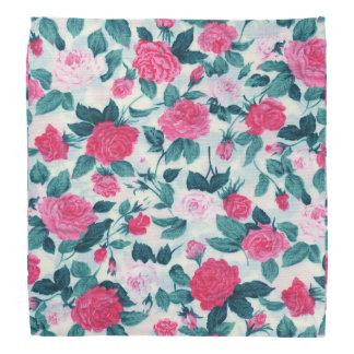 Pink Green Vintage Chic Roses Floral Pattern Bandanna