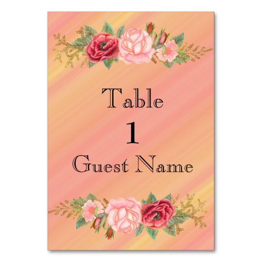 Pink  Green Watercolor Floral Wedding Place Card Table Cards