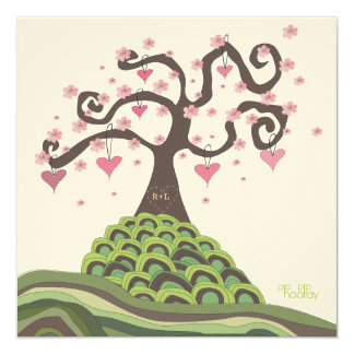Pink Green Wedding Monogram Blossom Tree Invite