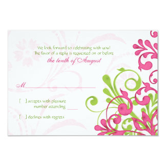 "Pink Green White Abstract Floral Wedding RSVP Card 3.5"" X 5"" Invitation Card"