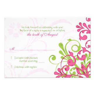 Pink Green White Abstract Floral Wedding RSVP Card Personalized Invitation