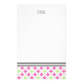 Pink Green White Custom Monogram Stationery