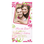 Pink, Green, White Floral Photo Save the Date Custom Photo Card