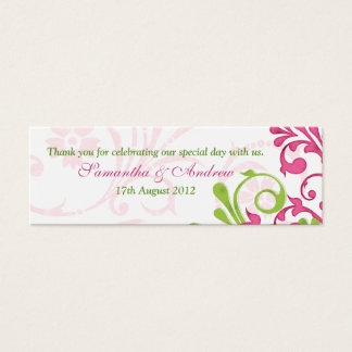 Pink Green White Floral Wedding Favor Tags Mini Business Card