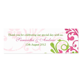 Pink Green White Floral Wedding Favor Tags Pack Of Skinny Business Cards