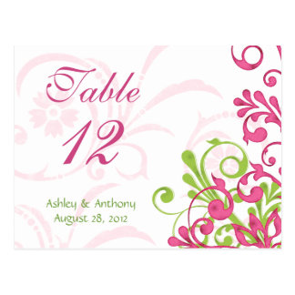 Pink Green White Floral Wedding Table Cards Post Card