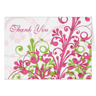 Pink Green White Floral Wedding Thank You Card