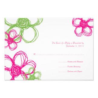 Pink & Green Wild Flowers Wedding RSVP Custom Invites