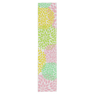 Pink Green Yellow Dahlia Mums Table Runner