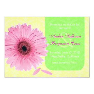 Pink Green Yellow Gebera Daisy Save the Date 5x7 Paper Invitation Card