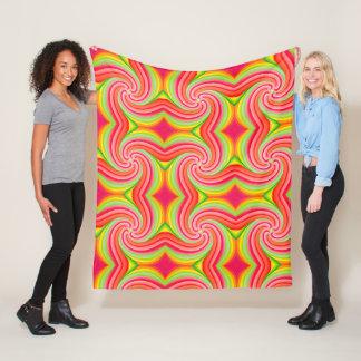 Pink Green Yellow Pinwheel Fleece Blanket