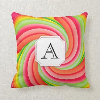 Pink, Green, Yellow Pinwheel Monogram Throw Pillow