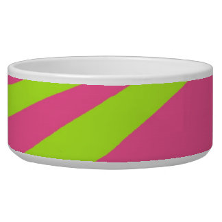 Pink Green Zebra Stripes Dog Pet Bowl