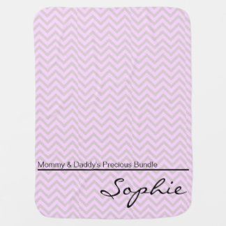 Pink Green Zigzag Personalized Girl Baby Blanket