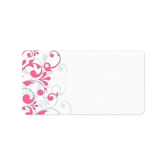 Pink Grey Abstract Floral Wedding Blank Address Label