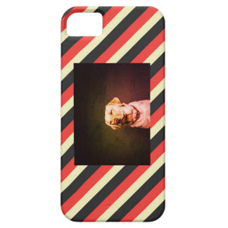 Pink, Grey, and Cream Striped, with Dog Photo iPhone 5 Cover