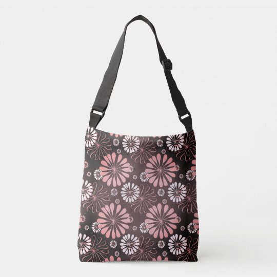 Pink Grey and White Flower Tote