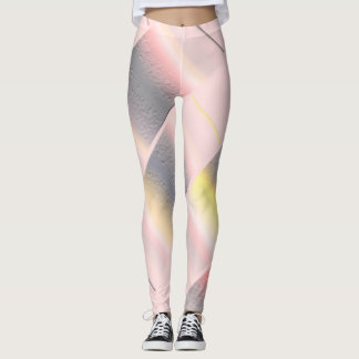 Pink, Grey, and Yellow Abstract Art Leggings