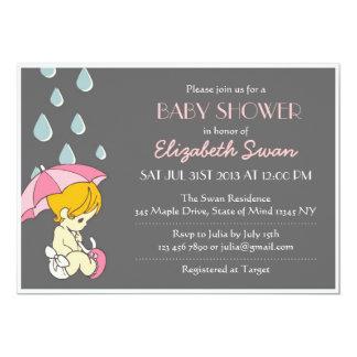 Pink Grey Baby Shower Invitation Umbrella Rain