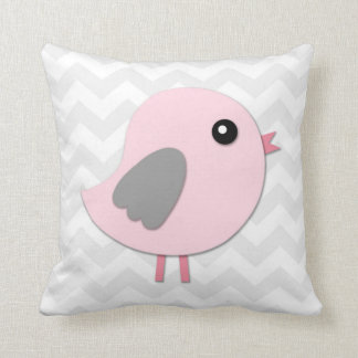 Pink Grey Bird Nursery Throw Pillow